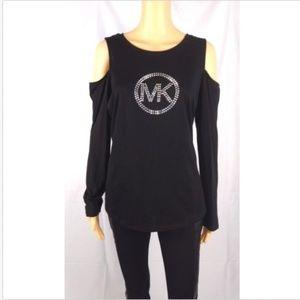 MICHAEL KORS black cold shoulder shirt size Large